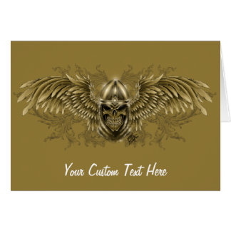Templar Knight Gothic Medieval Skull with Wings Greeting Card