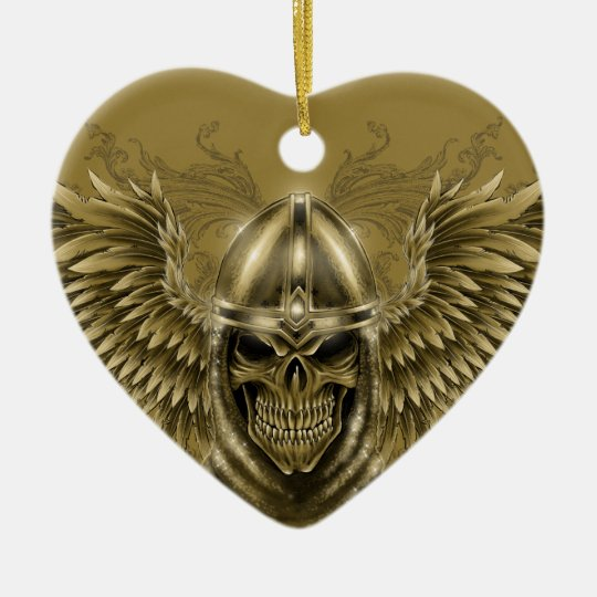 Templar Knight Gothic Medieval Skull with Wings Ceramic Ornament