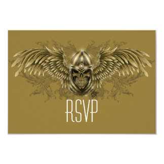Templar Knight Gothic Medieval Skull with Wings 3.5x5 Paper Invitation Card