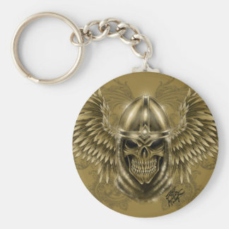 Templar Knight Gothic Medieval Skull with Wings Keychain