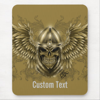 Templar Knight Gothic Medieval Skull with Wings Mouse Pad