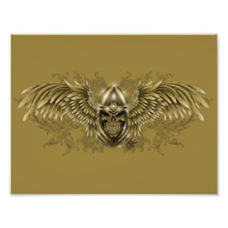 Templar Knight Gothic Medieval Skull with Wings Photo Print