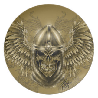 Templar Knight Gothic Medieval Skull with Wings Plate