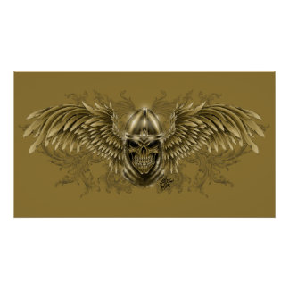 Templar Knight Gothic Medieval Skull with Wings Poster
