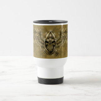 Templar Knight Gothic Medieval Skull with Wings Travel Mug