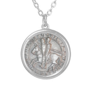 TEMPLAR KNIGHTS EMBLEM SILVER PLATED NECKLACE