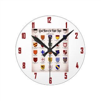 Templar Master Heraldry Round Wall Clock