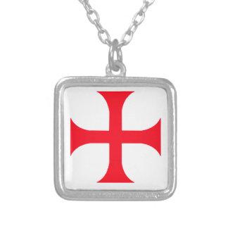 Templar red cross square pendant necklace