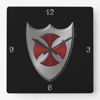 Templar Time of the Knights Square Wall Clock