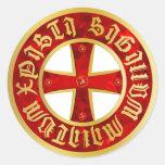 Templarios cruz/cruz de caballero/Crusaders cross Pegatina Redonda