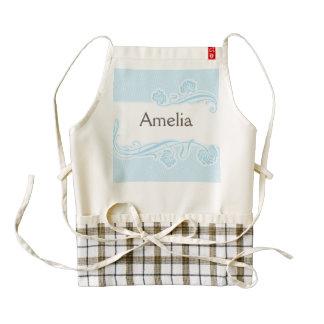 template,art nouveau pattern,baby blue,add text, c zazzle HEART apron