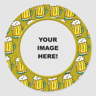 Template, Beer Border Classic Round Sticker