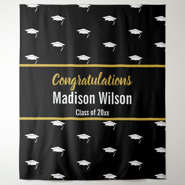 Template Black and White Graduation Tapestry