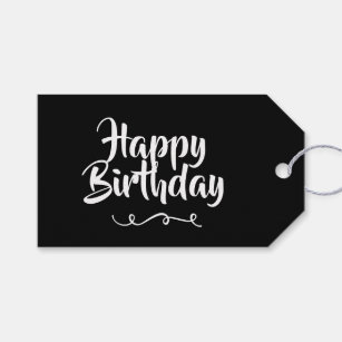 black and white happy birthday gift tags gift enclosures zazzle