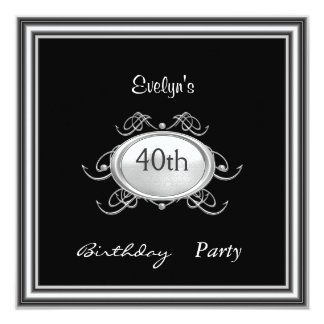 Template Black Birthday Party invitation