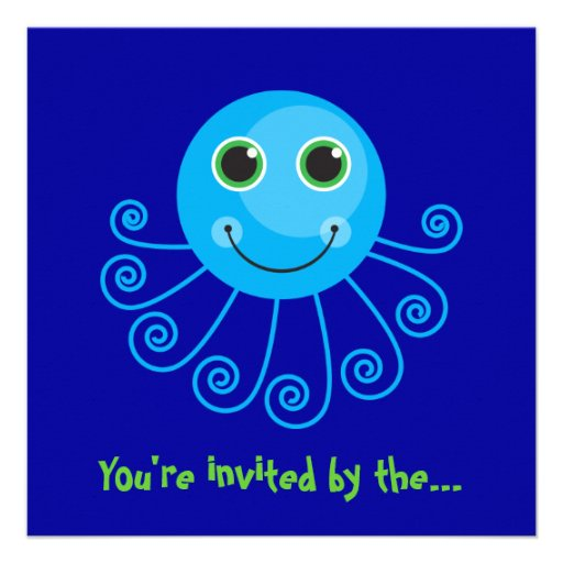 Template - Blue Octopus Big Brother Invitation