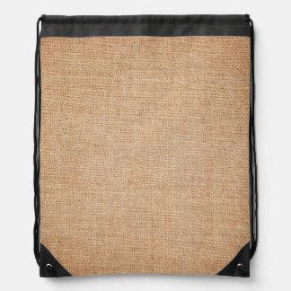 Template - Burlap Background Drawstring Backpack