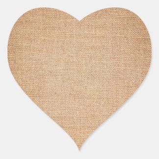 Template - Burlap Background Heart Sticker