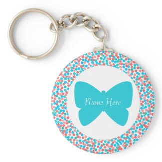 Template Butterfly Dots Keychain - 369 Aqua keychain
