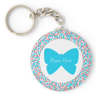 Template Butterfly Dots Keychain - 369 Blue keychain