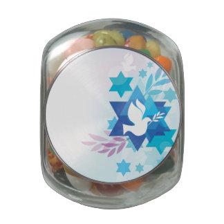 Template Card With Jewish Symbols Glass Jar
