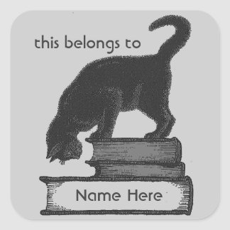 Template Cat on Books Label -Grey Background Square Sticker
