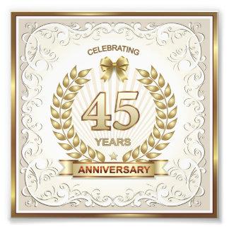 template, celebrating 45 years anniversary,gold, photo print