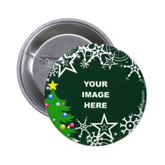 Template, Christmas Snowflake Border 2 Inch Round Button