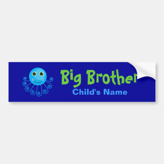 Template - Custom Octopus Big Brother Child's Name Bumper Sticker
