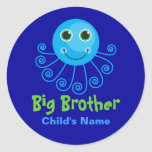 Template - Custom Octopus Big Brother Child's Name Sticker