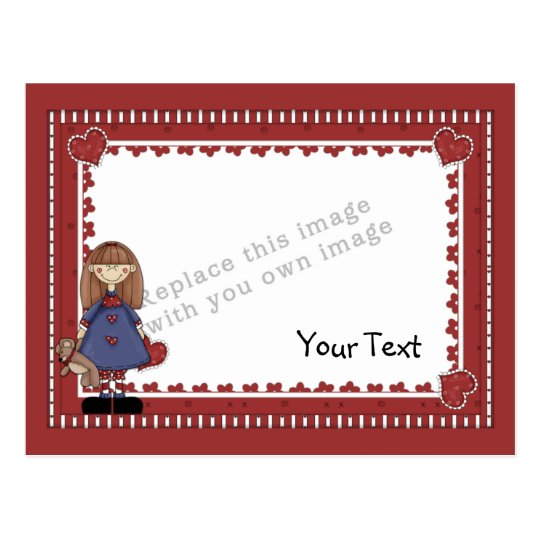 Template - Cute Young Girl Postcard