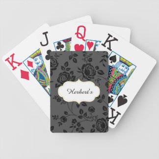 Template-DESIGN(c)Family-Name-Gray_Floral- Bicycle Playing Cards