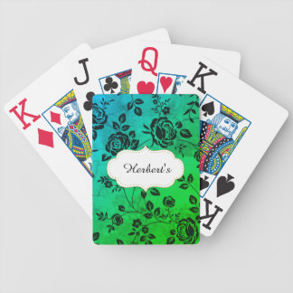 Template-DESIGN(c)Family-Name-Green-floral- Bicycle Playing Cards