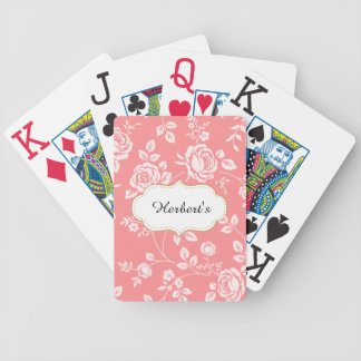 Template-DESIGN(c)Family-Name-Peach-Floral- Bicycle Playing Cards