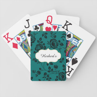 Template-DESIGN(c)Family-Name-Teal_Floral- Bicycle Playing Cards