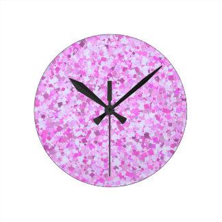 Template DIY Pink Graffiti Confetti Add Text Image Round Wallclock