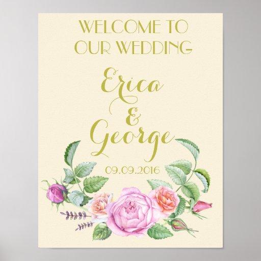 template floral rose welcome wedding sign print zazzle. Black Bedroom Furniture Sets. Home Design Ideas