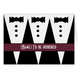 Template for BIBLE BEARER Invitation - 3 Tuxedos Greeting Card