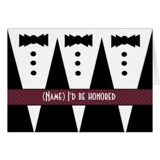 Template for BRIDESMAN Invitation - 3 Tuxedos Greeting Card