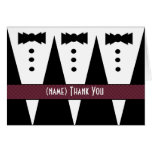 Template for GROOMSMEN Thank You - 3 Tuxedos Greeting Card