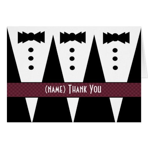Template for PHOTOGRAPHER Thank You - 3 Tuxedos Greeting Card