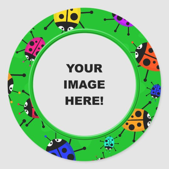 Template, Ladybug Border Classic Round Sticker