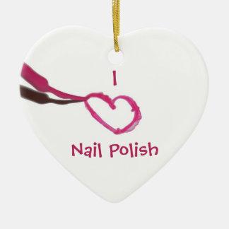 Template Love Nail Polish Double-Sided Heart Ceramic Christmas Ornament