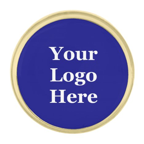 Template Navy Blue Your Logo Here Gold Finish Lapel Pin