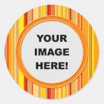 Template, Orange Stripes Border Classic Round Sticker