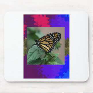 Template orchid flowers butterfly pink yellow gift mouse pad