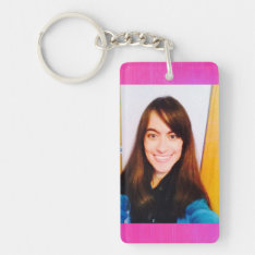 Template photo rectangle keychain at Zazzle