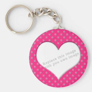 "Template ""Pink with Flowers"" Keychain"