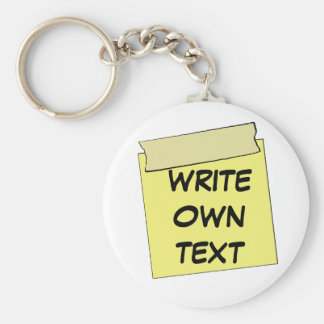 Template Post It Note- Tape (Add Own Text) Basic Round Button Keychain