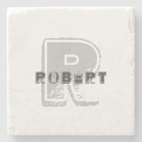 Template Stylish Design Letter Elegant Monogram Stone Coaster